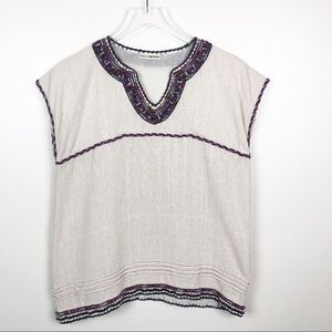 ULLA JOHNSON l Embroidered Tunic Top - Size 2